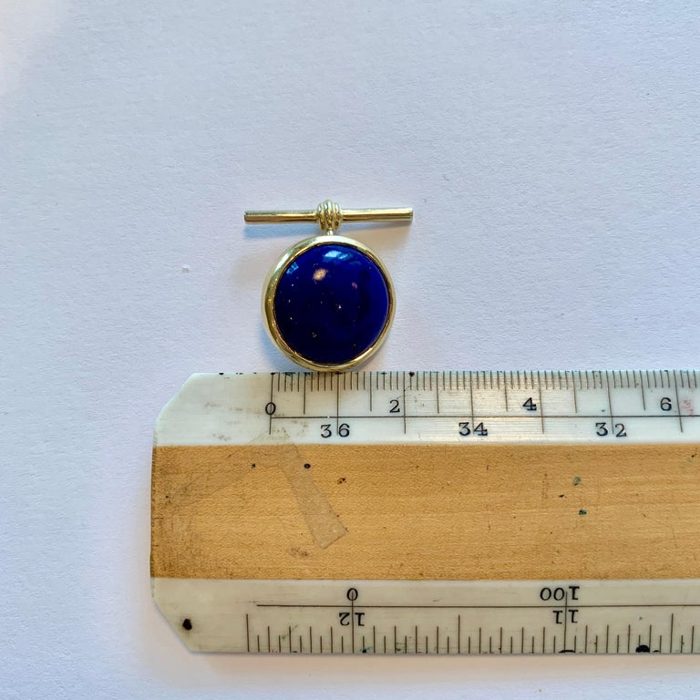 18 Karat Yellow Gold Lapis Lazuli Chain Cufflinks For Sale 2