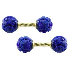 18 Karat Yellow Gold Lapis Lazuli Cufflinks
