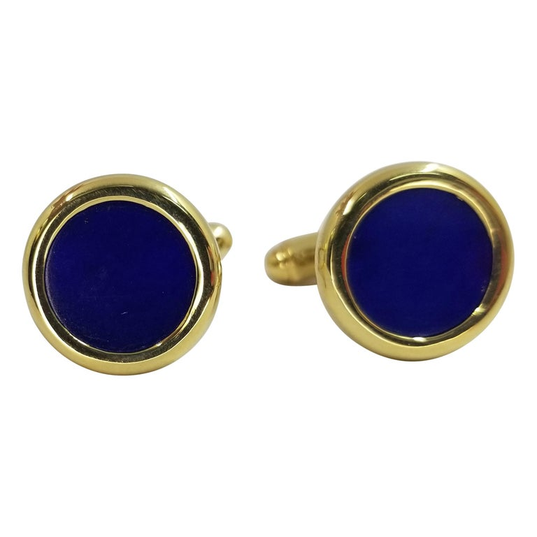 18 Karat Yellow Gold Lapis Lazuli Cufflinks For Sale