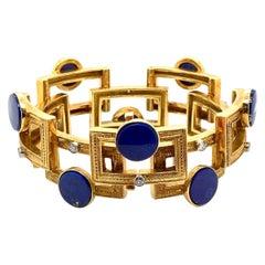 18 Karat Yellow Gold Lapis Lazuli Diamond Engraved Geometric Bracelet