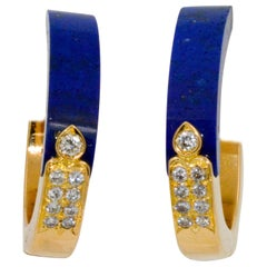 18 Karat Yellow Gold Lapis Lazuli Diamond Hoop Earrings