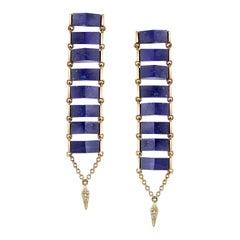 18 Karat Yellow Gold Lapis Lazuli Diamond Ladder Earrings