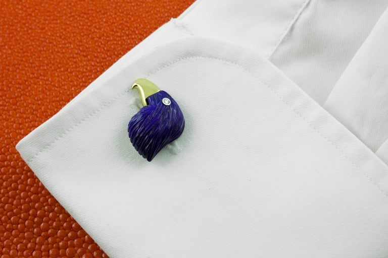 18 Karat Yellow Gold Lapis Lazuli Eagle Diamond Cufflinks In New Condition For Sale In Milano, IT