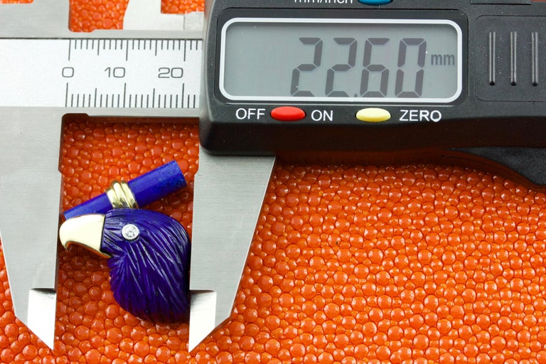 18 Karat Yellow Gold Lapis Lazuli Eagle Diamond Cufflinks For Sale 1