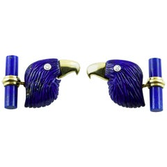 18 Karat Yellow Gold Lapis Lazuli Eagle Diamond Cufflinks