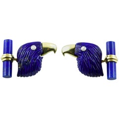 18 Karat Yellow Gold Lapis Lazuli Eagle Diamond Cufflinks