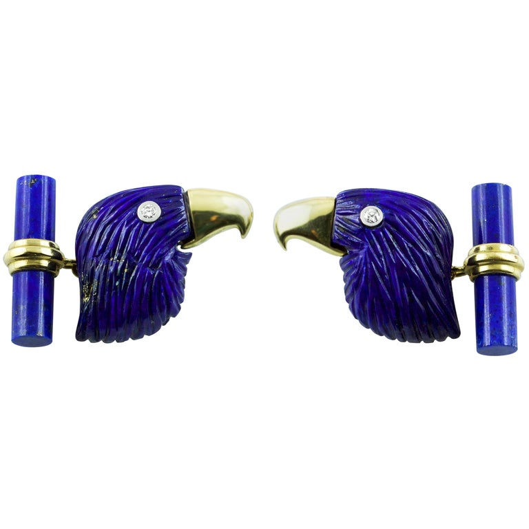 18 Karat Yellow Gold Lapis Lazuli Eagle Diamond Cufflinks For Sale