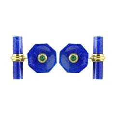 18 Karat Yellow Gold Lapis Lazuli Emeralds Octagonal Cufflinks