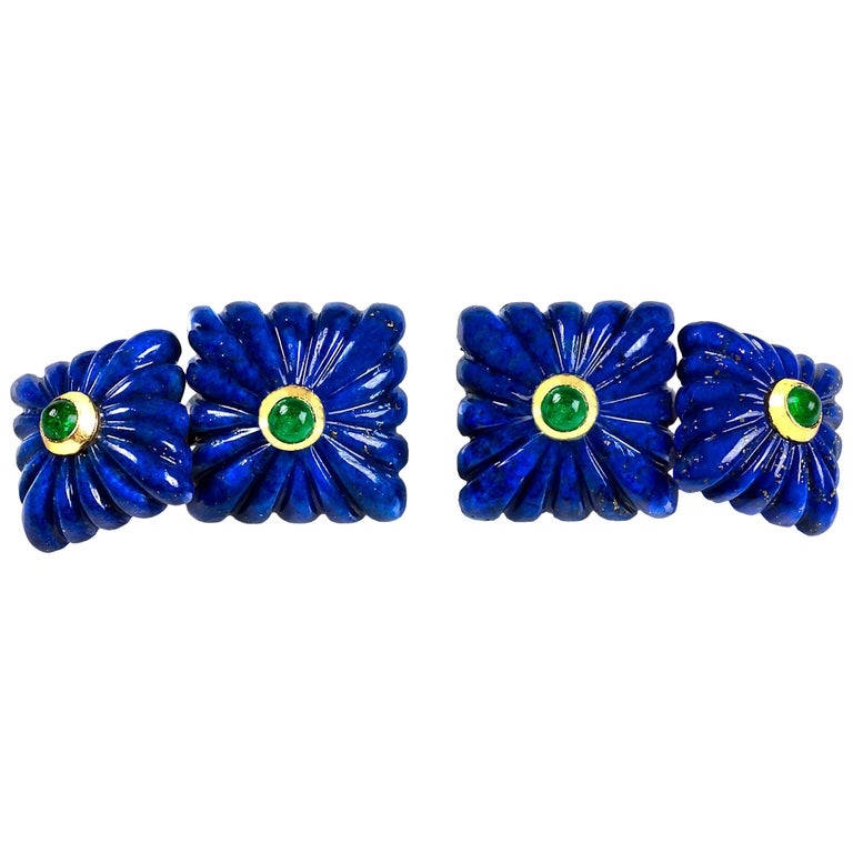 18 Karat Yellow Gold Lapis Lazuli Emeralds Squared Carved Cufflinks For Sale
