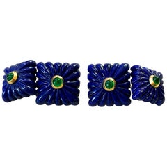 18 Karat Yellow Gold Lapis Lazuli Emeralds Squared Carved Cufflinks