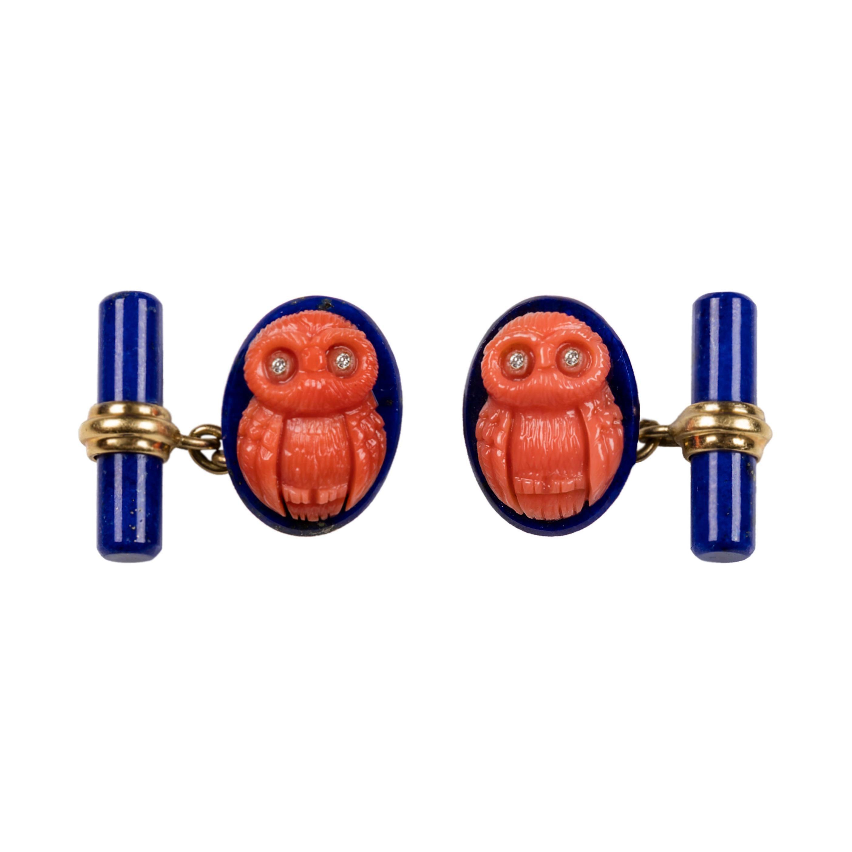18 Karat Yellow Gold Lapis Lazuli Mediterranean Coral Owls Diamond Cufflinks