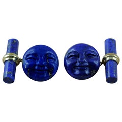 18 Karat Yellow Gold Lapis Lazuli Moon Smiling Face Cufflinks