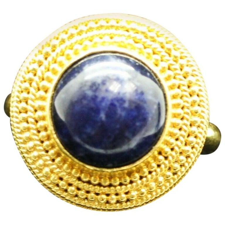 18 Karat Yellow Gold Lapis Lazuli Ring For Sale
