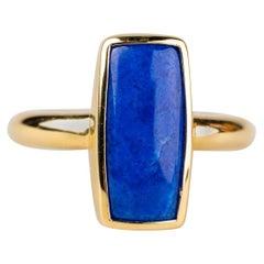 18 Karat Yellow Gold Lapis Lazuli Ring