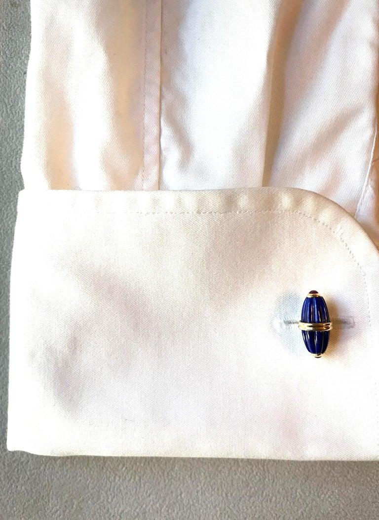 18 Karat Yellow Gold Lapis Lazuli Ruby Cufflinks For Sale 1