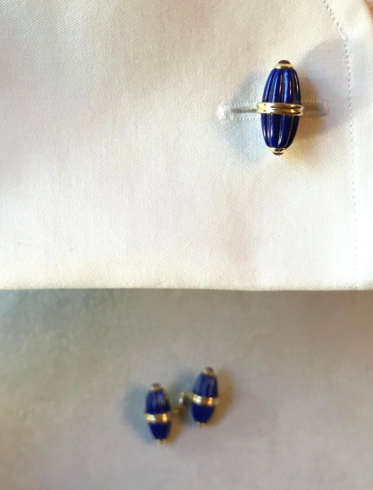 18 Karat Yellow Gold Lapis Lazuli Ruby Cufflinks For Sale 2