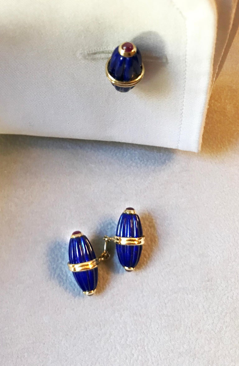 18 Karat Yellow Gold Lapis Lazuli Ruby Cufflinks For Sale 3