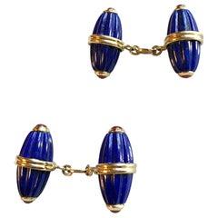 18 Karat Yellow Gold Lapis Lazuli Ruby Cufflinks