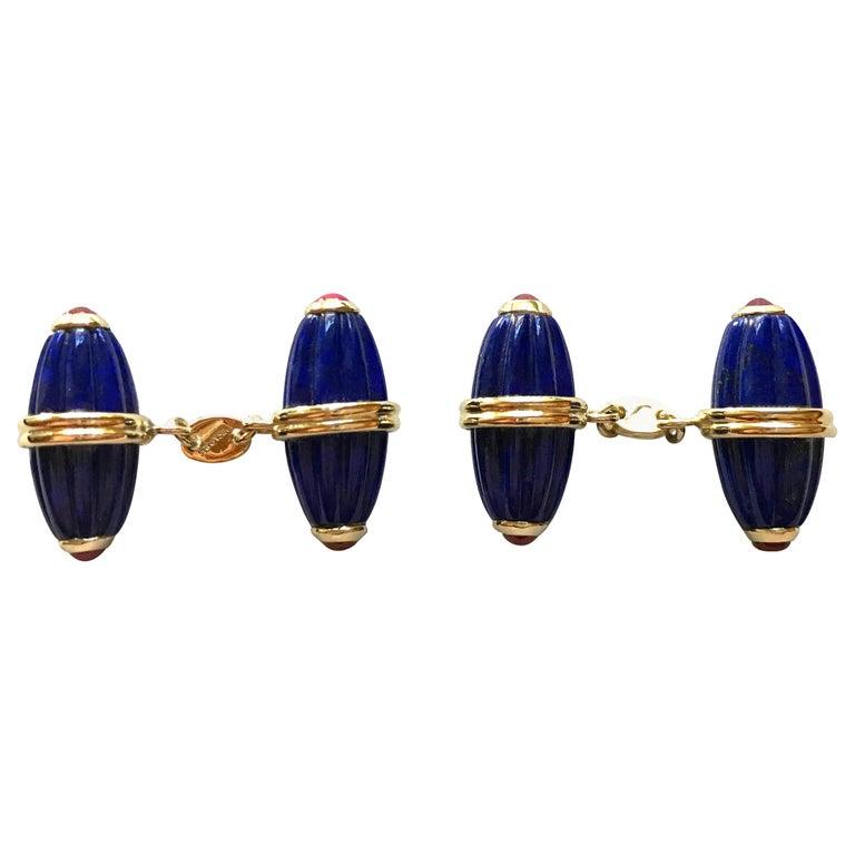 18 Karat Yellow Gold Lapis Lazuli Ruby Cufflinks For Sale