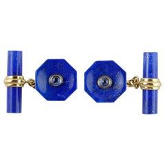 18 Karat Yellow Gold Lapis Lazuli Sapphires Octagonal Cufflinks