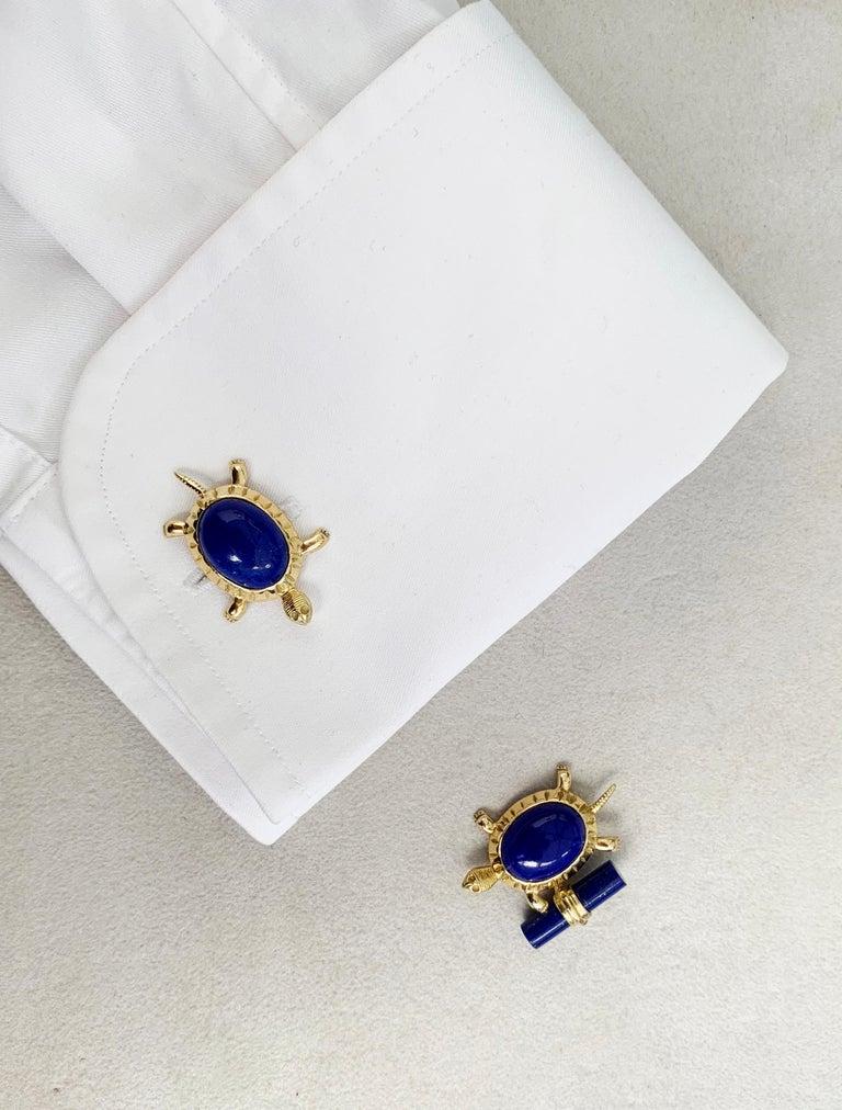 Women's or Men's 18 Karat Yellow Gold Lapis Lazuli Turtle Cufflinks For Sale