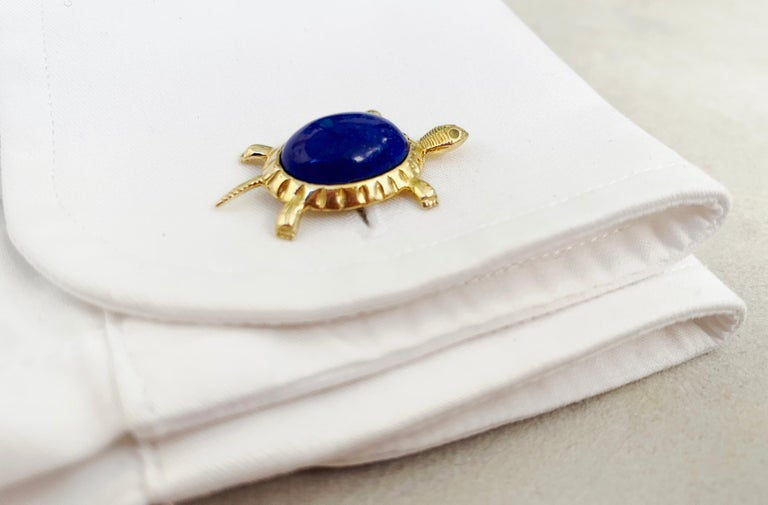 18 Karat Yellow Gold Lapis Lazuli Turtle Cufflinks For Sale 1