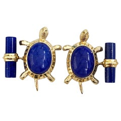 18 Karat Yellow Gold Lapis Lazuli Turtle Cufflinks