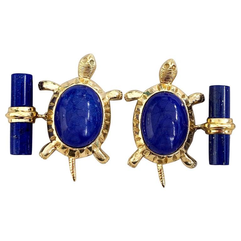 18 Karat Yellow Gold Lapis Lazuli Turtle Cufflinks For Sale