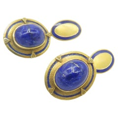 18 Karat Yellow Gold Lapiz and Enamel Cufflinks