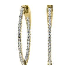 18 Karat Yellow Gold Large Hoop Insideout Diamond Earrings '1/10 Carat'