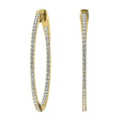 18 Karat Yellow Gold Large Hoop Insideout Diamond Earrings '1 2/5 Carat'