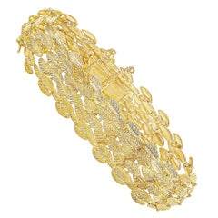 18 Karat Yellow Gold Leaf Bracelet