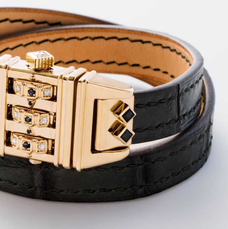 Contemporary 18 Karat Yellow Gold Leather Wrap Black and White Code Bracelet For Sale