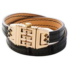 18 Karat Yellow Gold Leather Wrap Black and White Code Bracelet