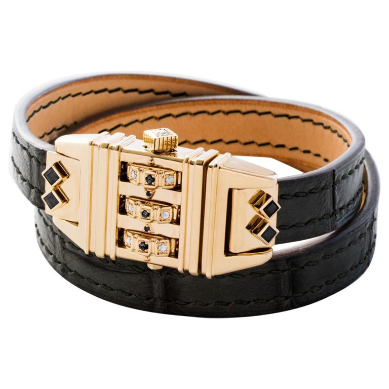 18 Karat Yellow Gold Leather Wrap Black and White Code Bracelet For Sale