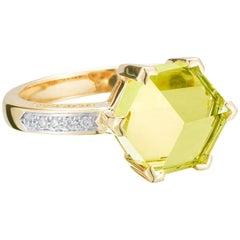 18 Karat Yellow Gold Lemon Citrine 2.94 Carat Brillante Valentina Ring