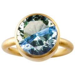 18 Karat Yellow Gold Lemon Quartz Blue Topaz Two-Stone Modern Cocktail Ring 7-13