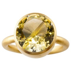 18 Karat Yellow Gold Lemon Quartz Citrine Two-Stone Modern Cocktail Ring 7-13