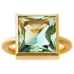 18 Karat Yellow Gold Lemon Quartz Blue Topaz Two Stone Modern Cocktail Ring