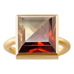 18 Karat Yellow Gold Lemon Quartz Garnet Two-Stone Modern Cocktail Ring 7-13