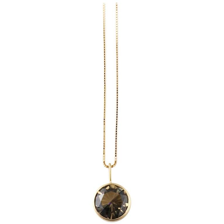 18 Karat Yellow Gold Lemon Smoky Quartz Two Stone Pendant Necklace For Sale