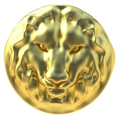 18 Karat Yellow Gold Leo Lion Head Signet Ring
