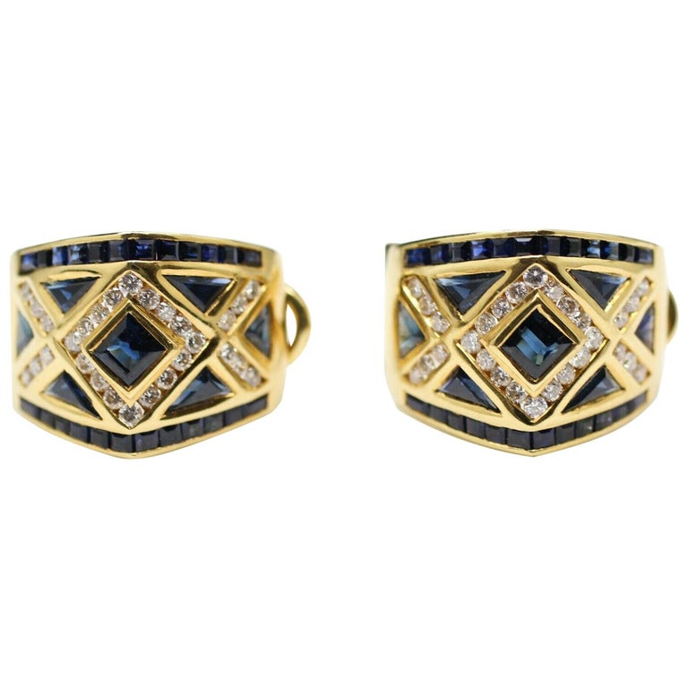 18 Karat Yellow Gold Levian Blue Sapphire and Diamond Earrings For Sale