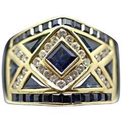18 Karat Yellow Gold LeVian Blue Sapphire and Diamond Ring