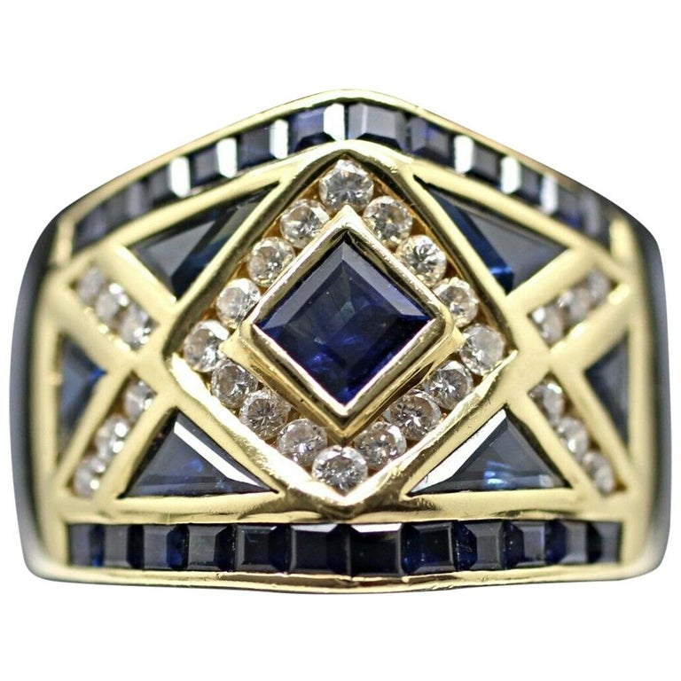 18 Karat Yellow Gold LeVian Blue Sapphire and Diamond Ring For Sale