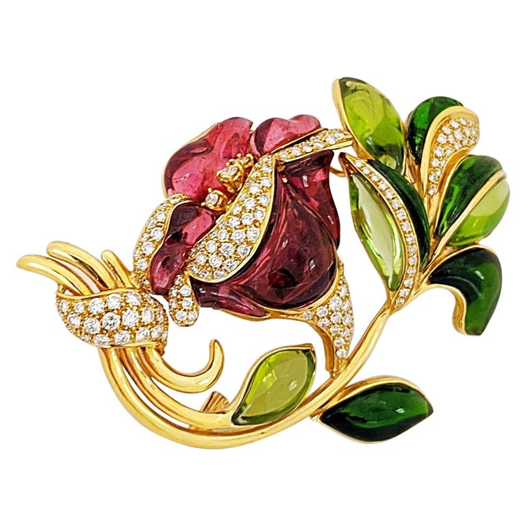 18 Karat Yellow Gold Lily Brooch, Carved Rubelite, Tourmaline and Diamonds For Sale