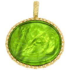 18 Karat Yellow Gold Lime Green Italian Murano Glass Carved Intaglio Pendant