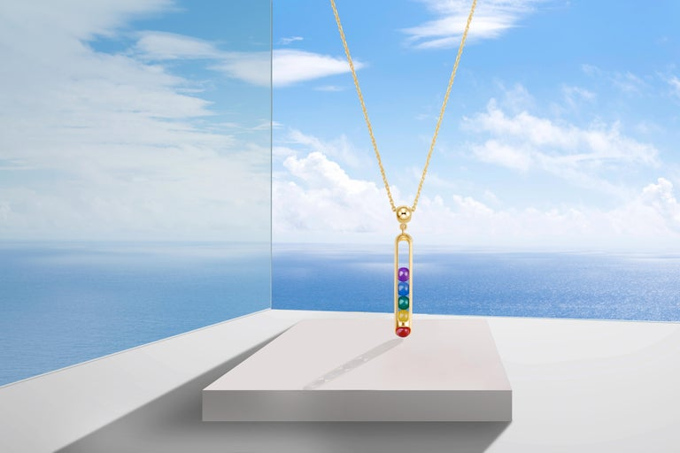 Bead 18 Karat Yellow Gold, LIMITED EDITION Melody Rainbow Pendant Necklace Unisex For Sale