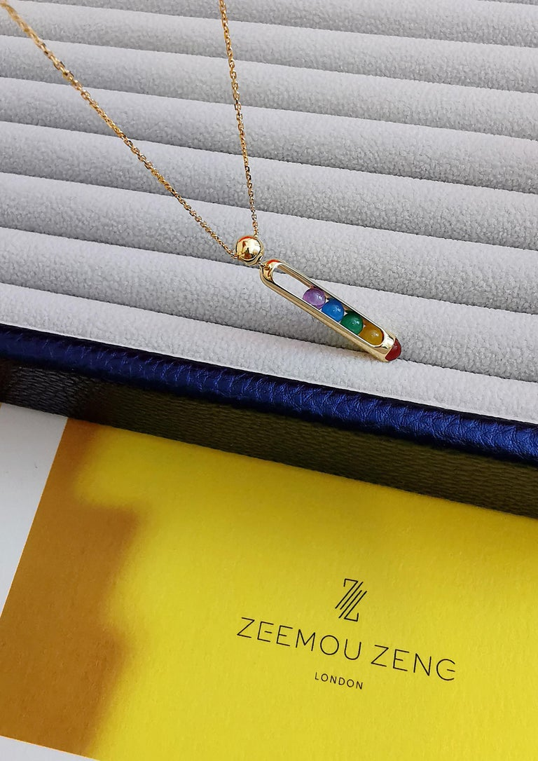 18 Karat Yellow Gold, LIMITED EDITION Melody Rainbow Pendant Necklace Unisex In New Condition For Sale In London, GB