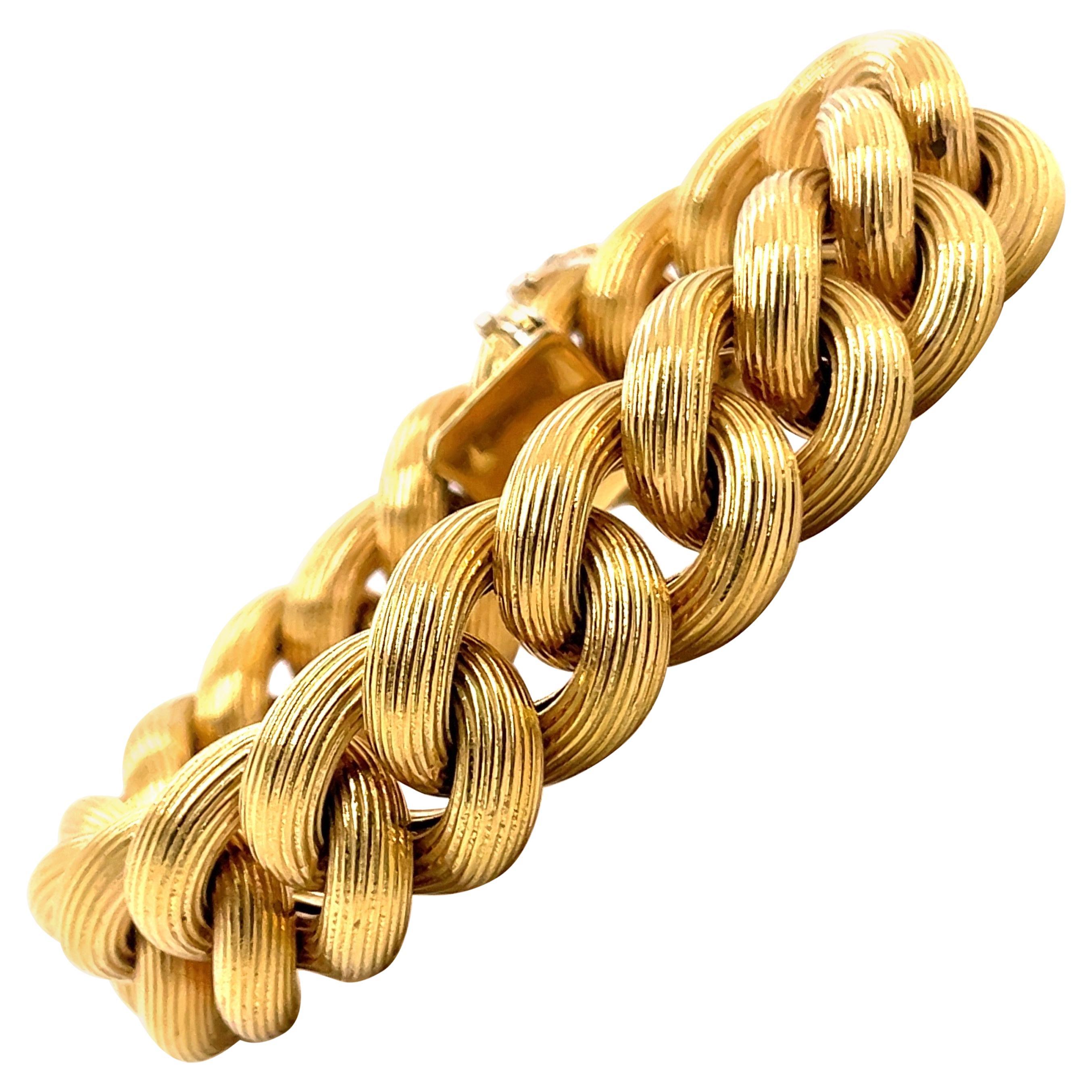 18 Karat Yellow Gold Link Bracelet 61.9 Grams